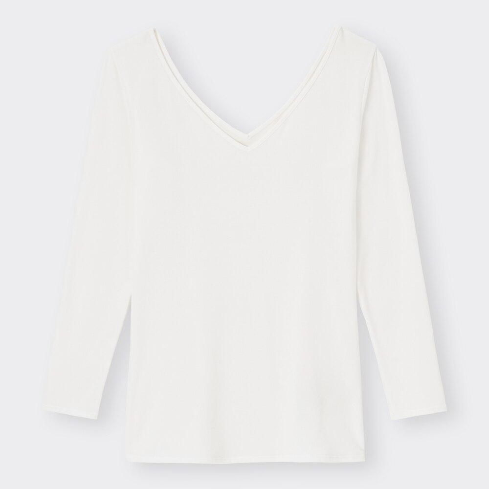 (GU)スタイルヒートワイドVネックT(8分袖)+E