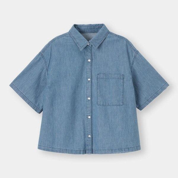ライトデニムオーバーサイズシャツ(5分袖)SD+X-BLUE