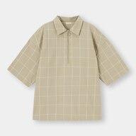 ハーフジッププルオーバーシャツ(5分袖)ウィンドウペーンNT+E