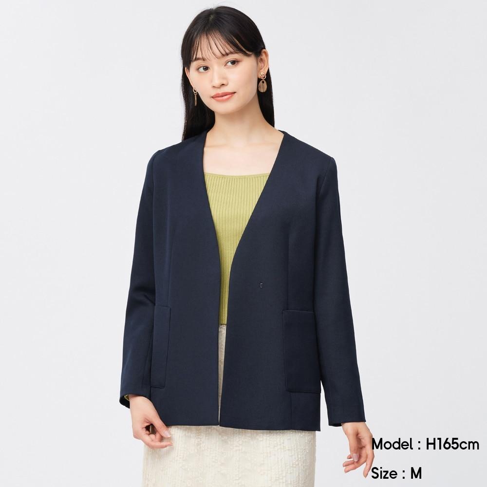 (GU)ベルテッドカラーレスジャケットZ+E