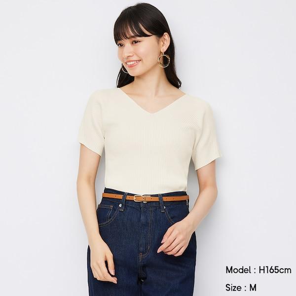 マルチリブVネックセーター(半袖)Z+E-OFF WHITE
