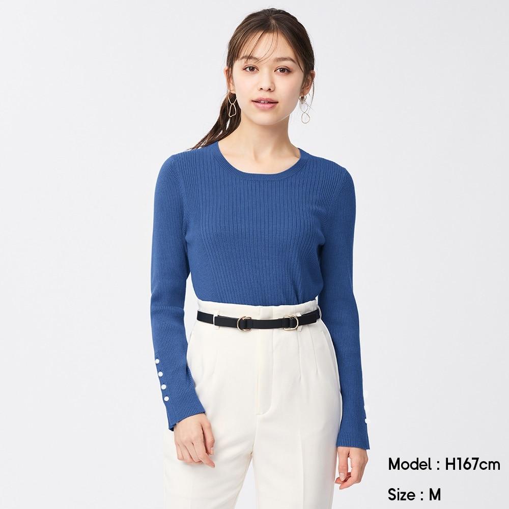 (GU)リブボタンスリーブセーター(長袖)Z+E