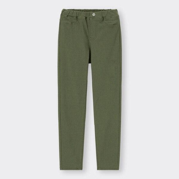 KIDS(男女兼用)エクストラストレッチカラーレギンスパンツ-OLIVE