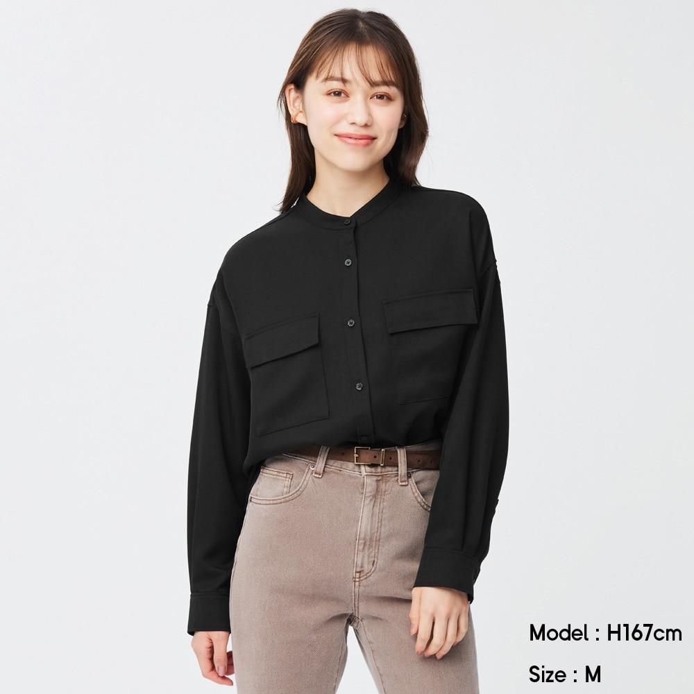 (GU)ダブルポケットオーバーサイズシャツ(長袖)