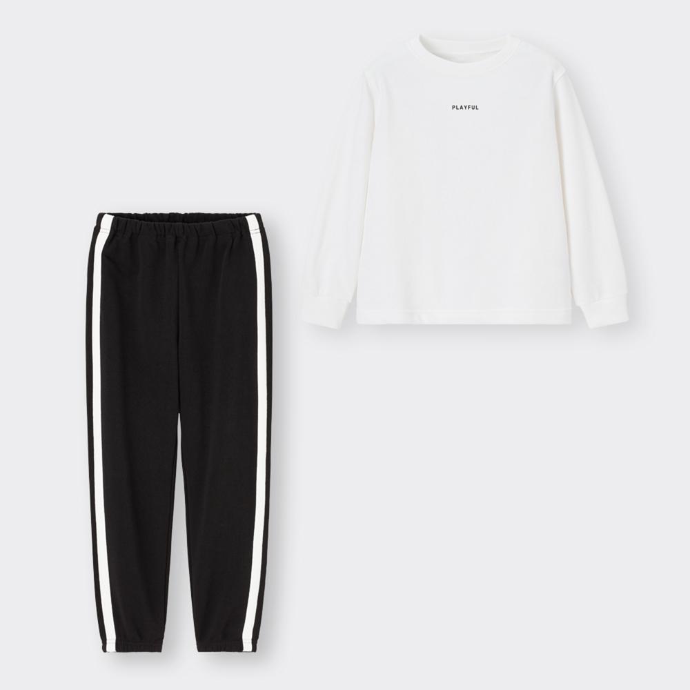 (GU)KIDS(男女兼用)スウェットセット(長袖)(ロゴ)