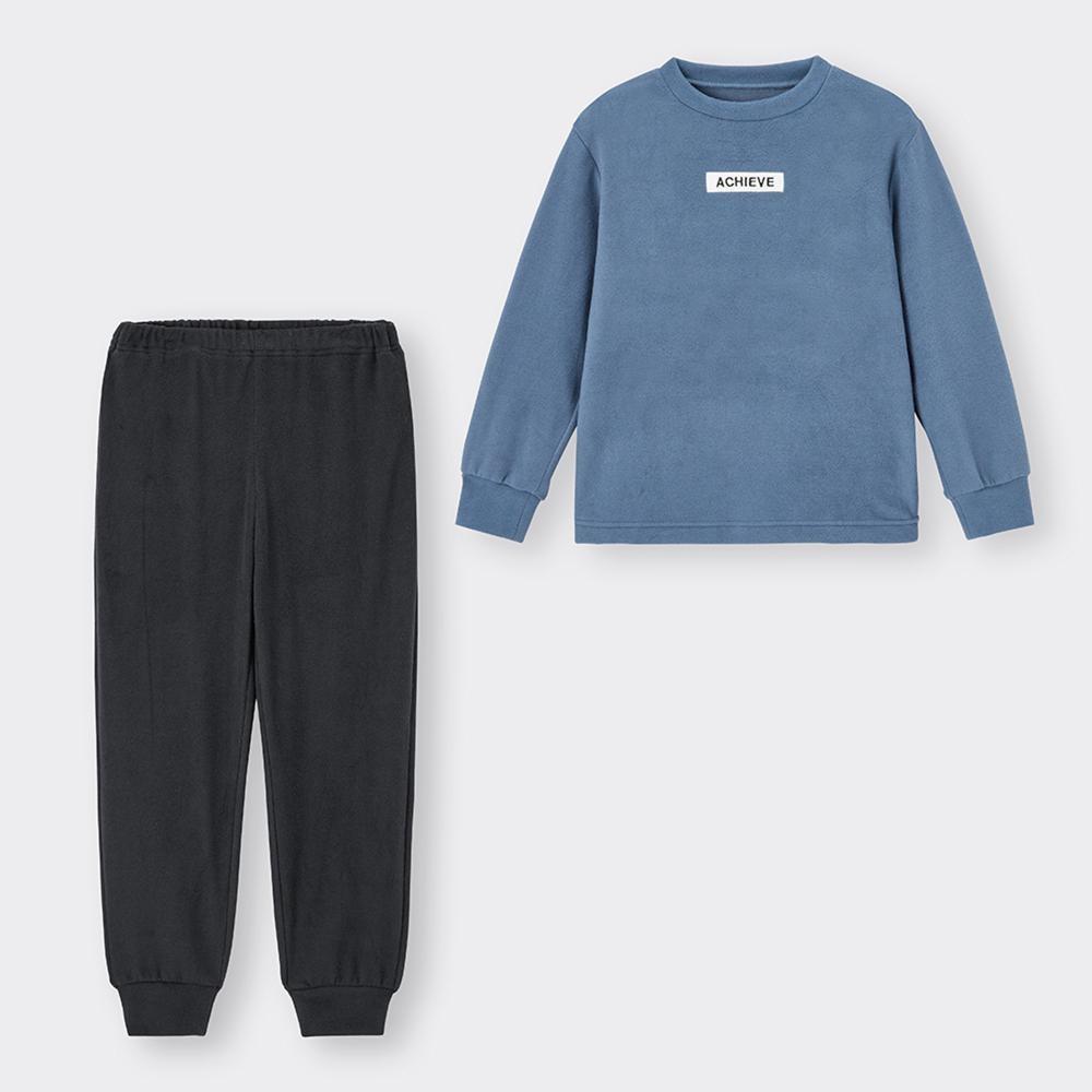 (GU)KIDS(男女兼用)ストレッチフリースラウンジセット(長袖)(ロゴ)