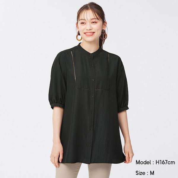 ハシゴレースチュニックブラウス(5分袖)Q-BLACK