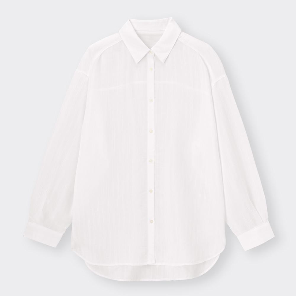 (GU)シアーストライプオーバーサイズシャツ(長袖)Q