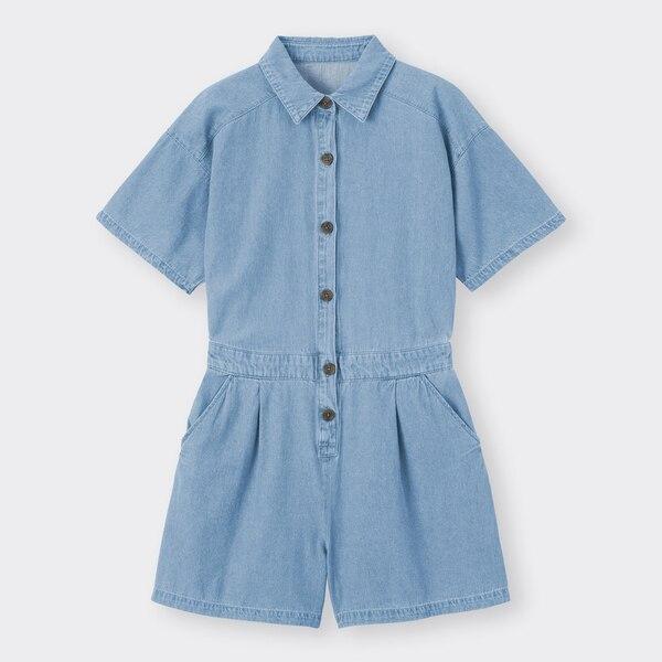 デニムミニジャンプスーツ(5分袖)YG+E-BLUE