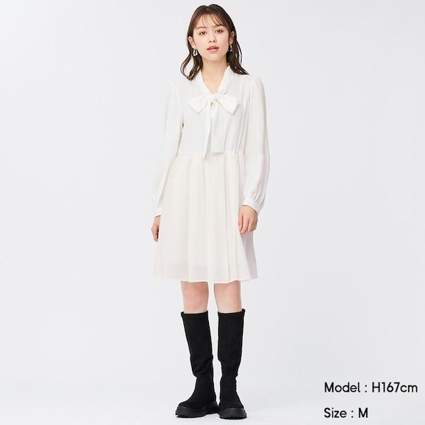 ボウタイワンピース(長袖)YG+X-OFF WHITE