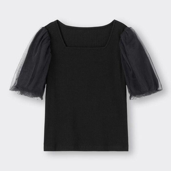 シアーボリュームスリーブT(5分袖)Q-BLACK