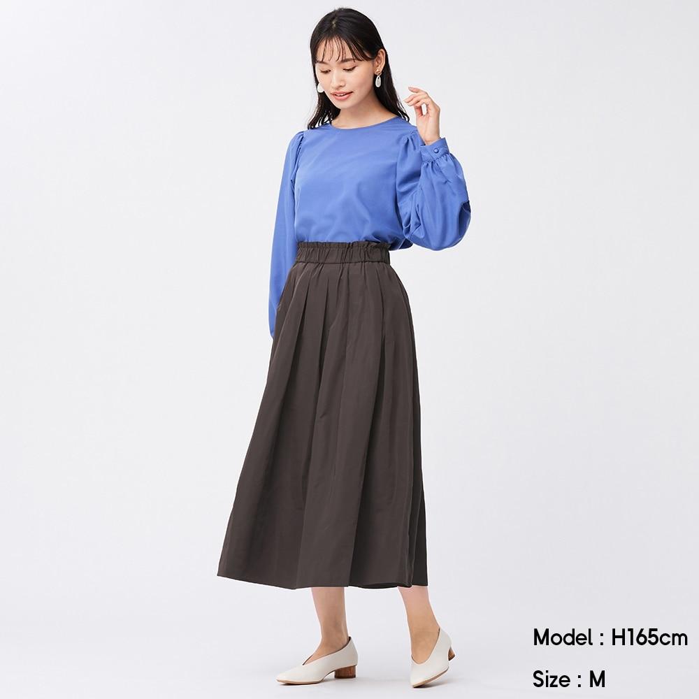 (GU)タフタフレアミディスカート