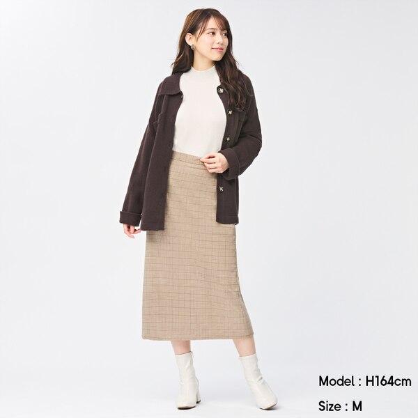 チェックナロースカート-BEIGE