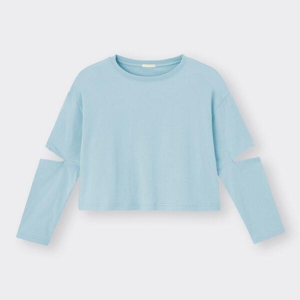 スリーブカットアウトT(長袖)YG+E-BLUE