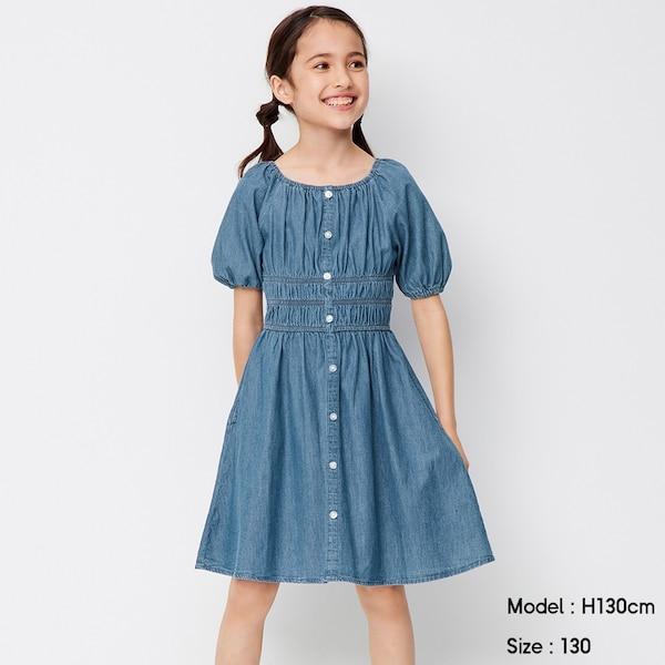 GIRLSデニムスクエアネックワンピース(半袖)-BLUE