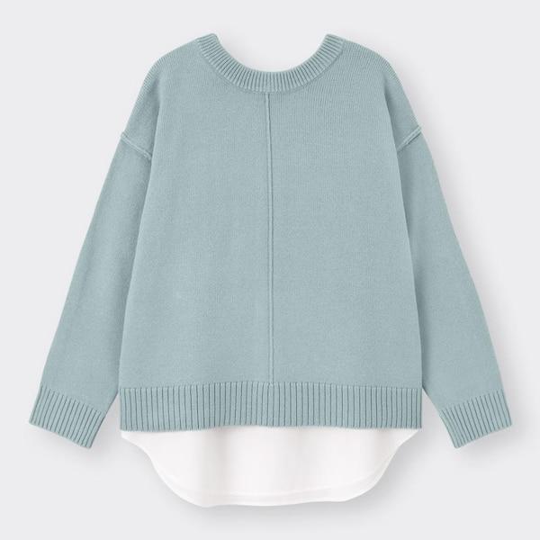 2WAYシャツテールコンビネーションセーター(長袖)-BLUE