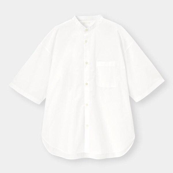 ブロードオーバーサイズバンドカラーシャツ(5分袖)Q-WHITE