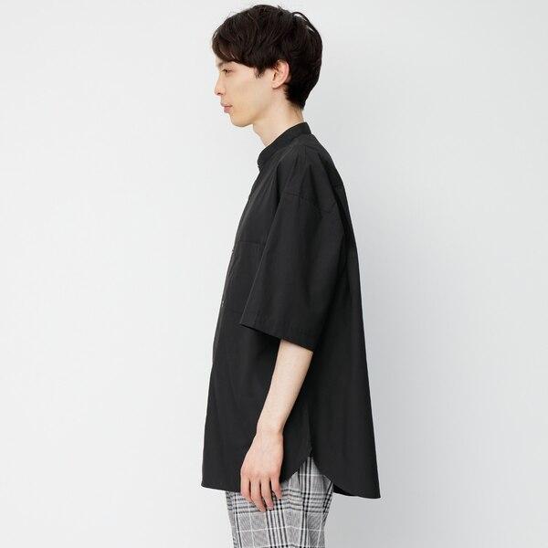ブロードオーバーサイズバンドカラーシャツ(5分袖)Q