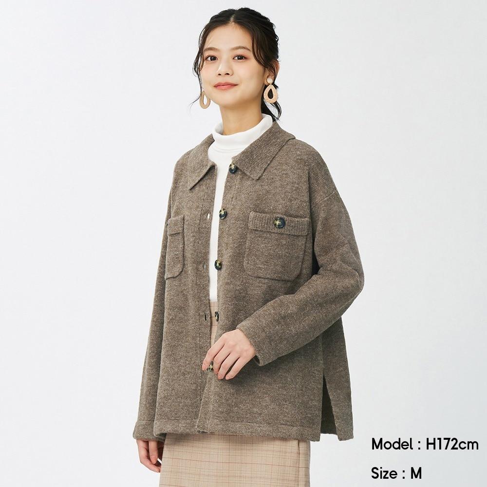 (GU)パフィータッチニットシャツジャケット(長袖)OSB+EC