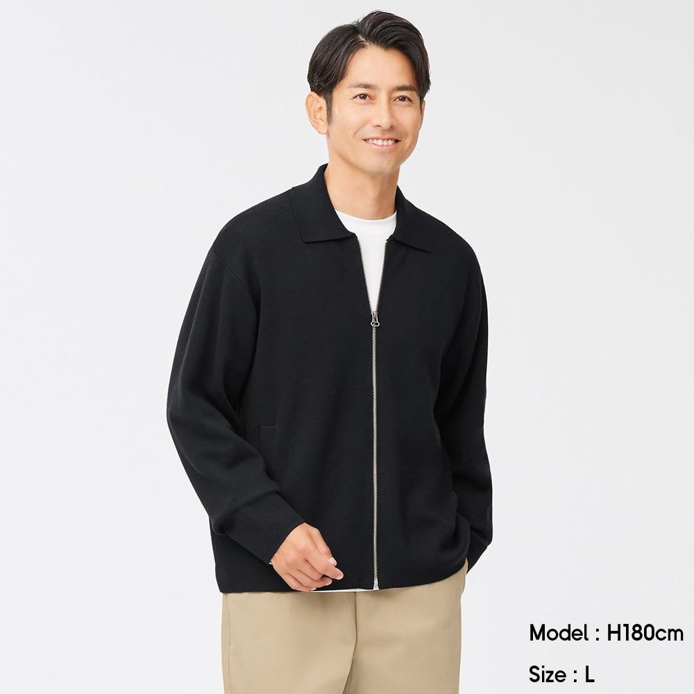 (GU)スウェットライクフルジップセーター(長袖)SW+X