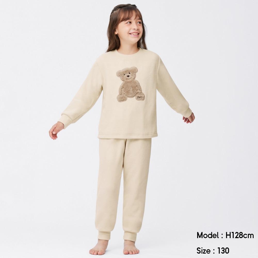 (GU)GIRLSストレッチフリースラウンジセット(長袖)(クマ)