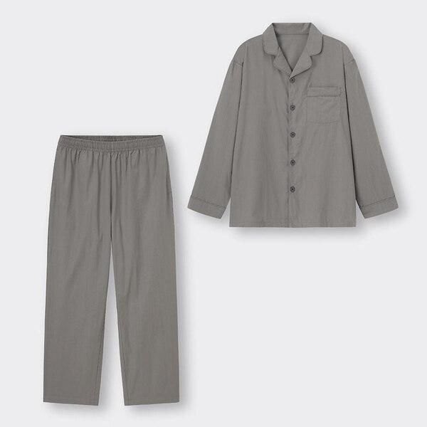 オープンカラーパジャマ(長袖&ロングパンツ)-GRAY
