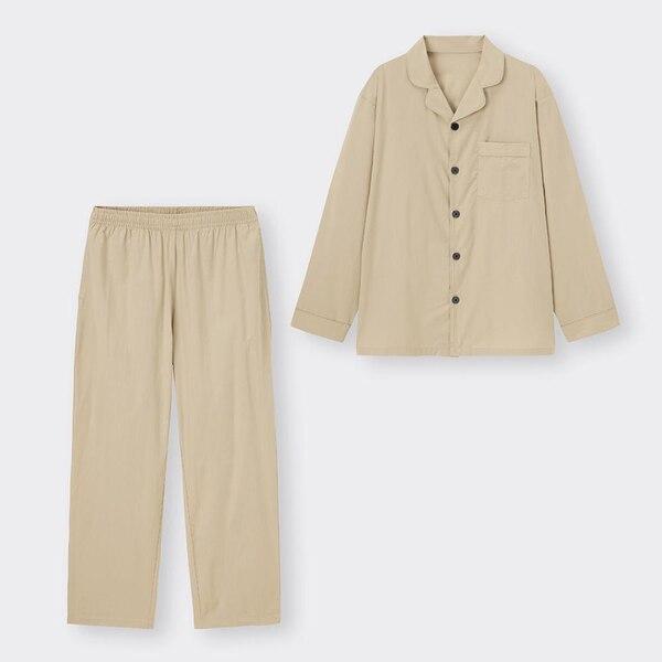 オープンカラーパジャマ(長袖&ロングパンツ)-NATURAL