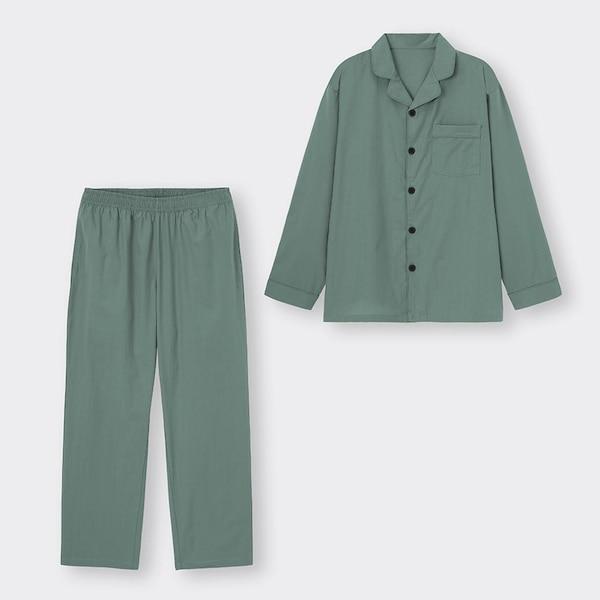 オープンカラーパジャマ(長袖&ロングパンツ)-OLIVE