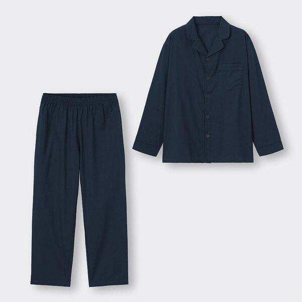 オープンカラーパジャマ(長袖&ロングパンツ)-NAVY