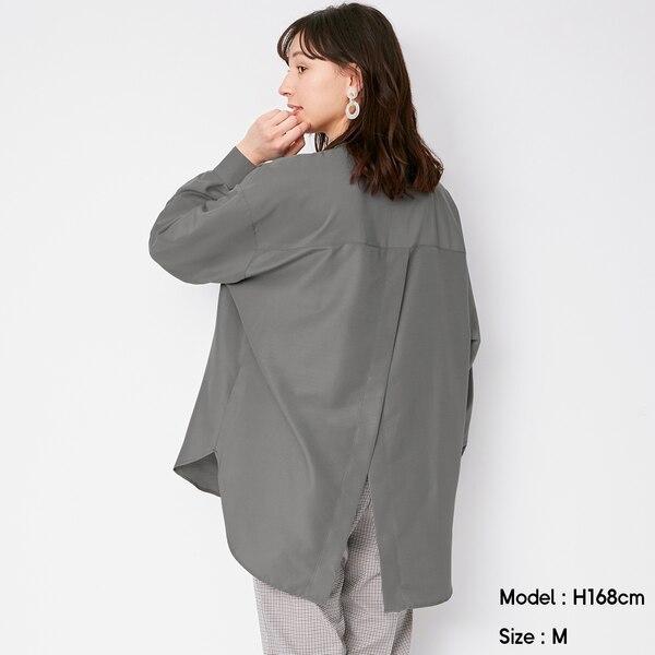 バックスリットボリュームスリーブシャツ(長袖)Q-GRAY