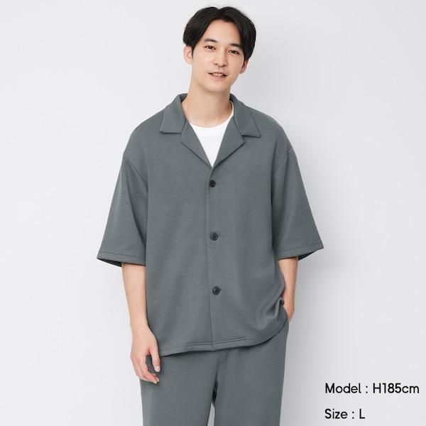 ドライダブルフェイスオープンカラーシャツ(5分袖)(セットアップ可能)-GRAY