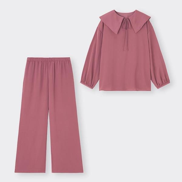 ヴィンテージサテンラウンジセット(長袖&ロングパンツ)+E-PINK