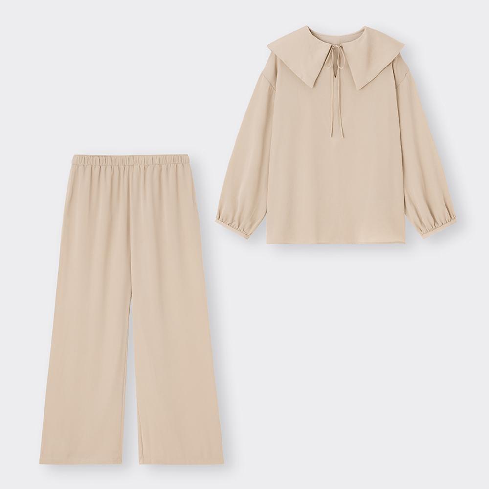 (GU)ヴィンテージサテンラウンジセット(長袖&ロングパンツ)+E
