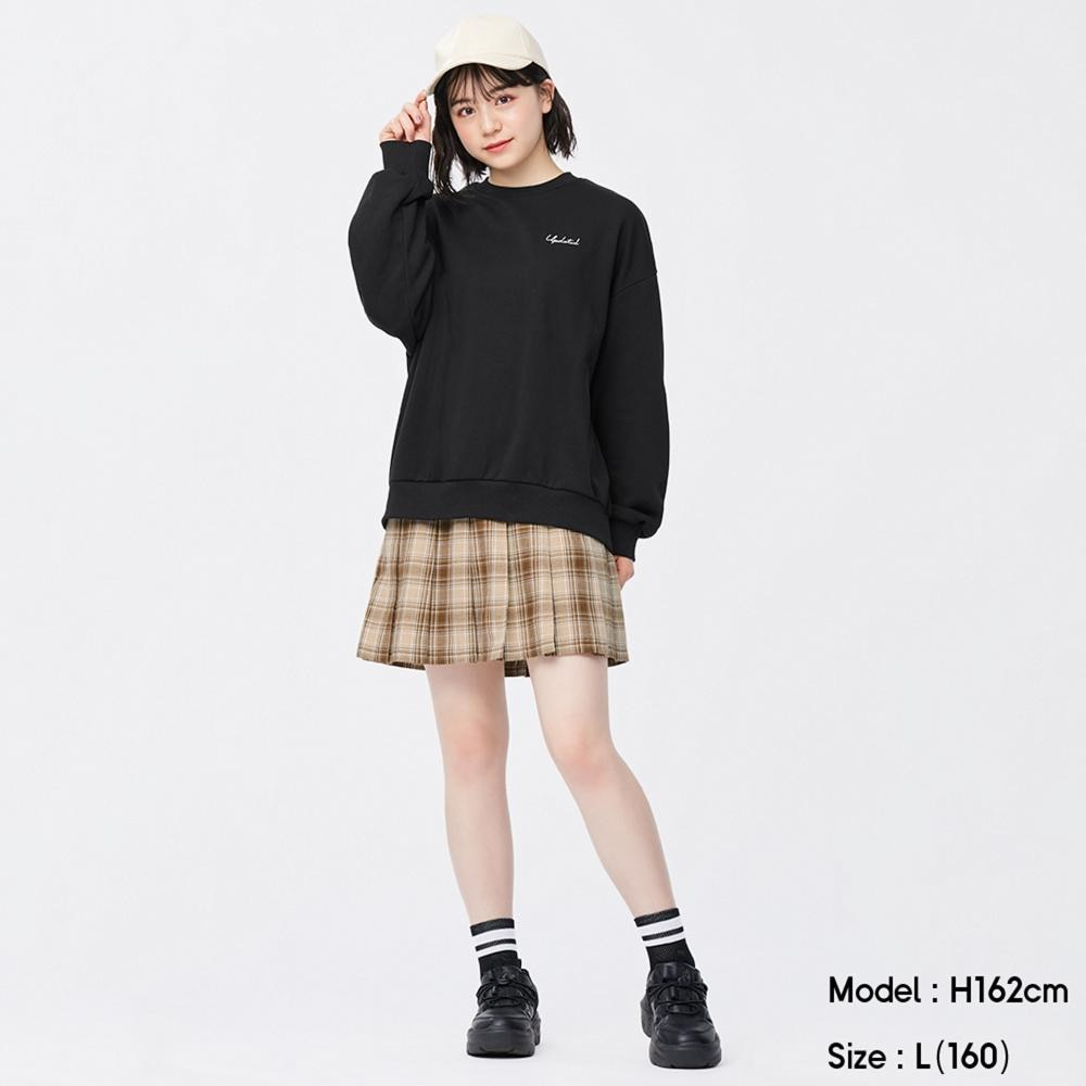 (GU)GIRLS起毛プリーツチェックスカートパンツJR+E