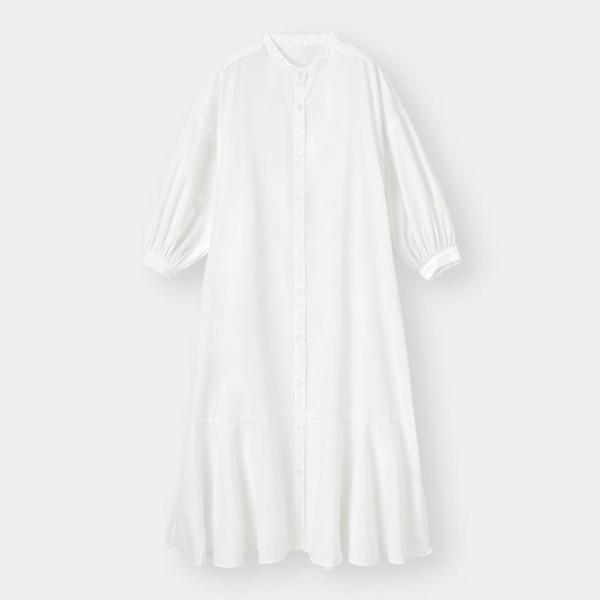 バンドカラーシャツワンピース(7分袖)-OFF WHITE