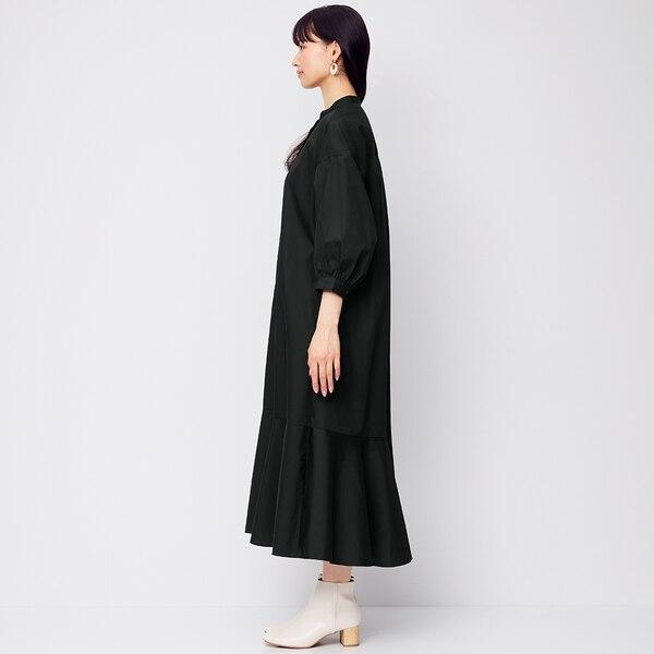 バンドカラーシャツワンピース(7分袖)