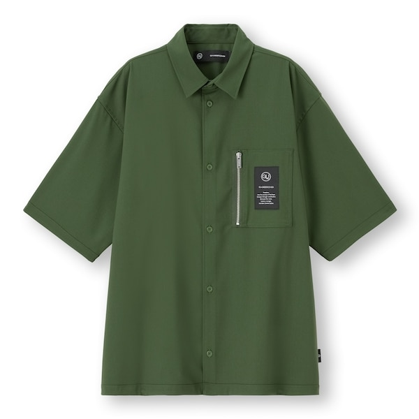 ジップポケットシャツ(5分袖)UNDERCOVER-DARK GREEN