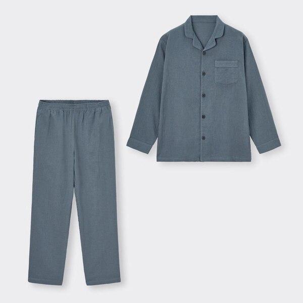 オーガニックコットンパジャマ(長袖&ロングパンツ)+E-BLUE