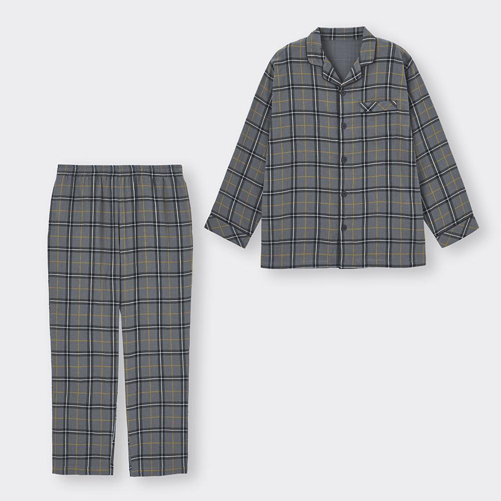 (GU)オーガニックコットンパジャマ(長袖)(チェック)+E