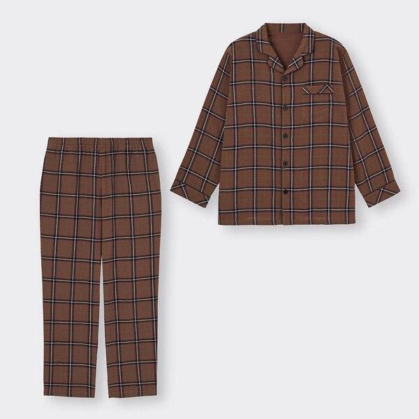 オーガニックコットンパジャマ(長袖)(チェック)+E-BROWN