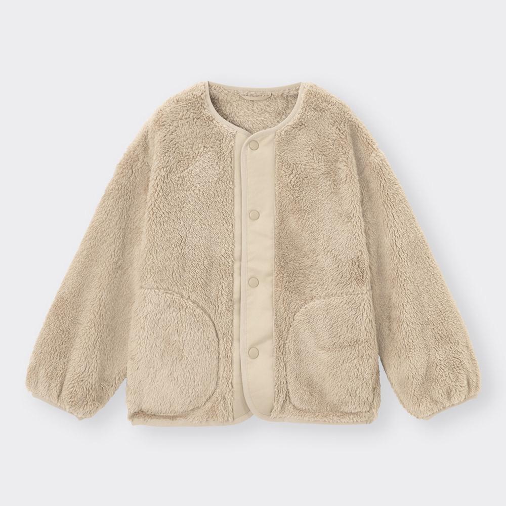 (GU)KIDS(男女兼用)フリーシーフリースコンビネーションカーディガン(長袖)