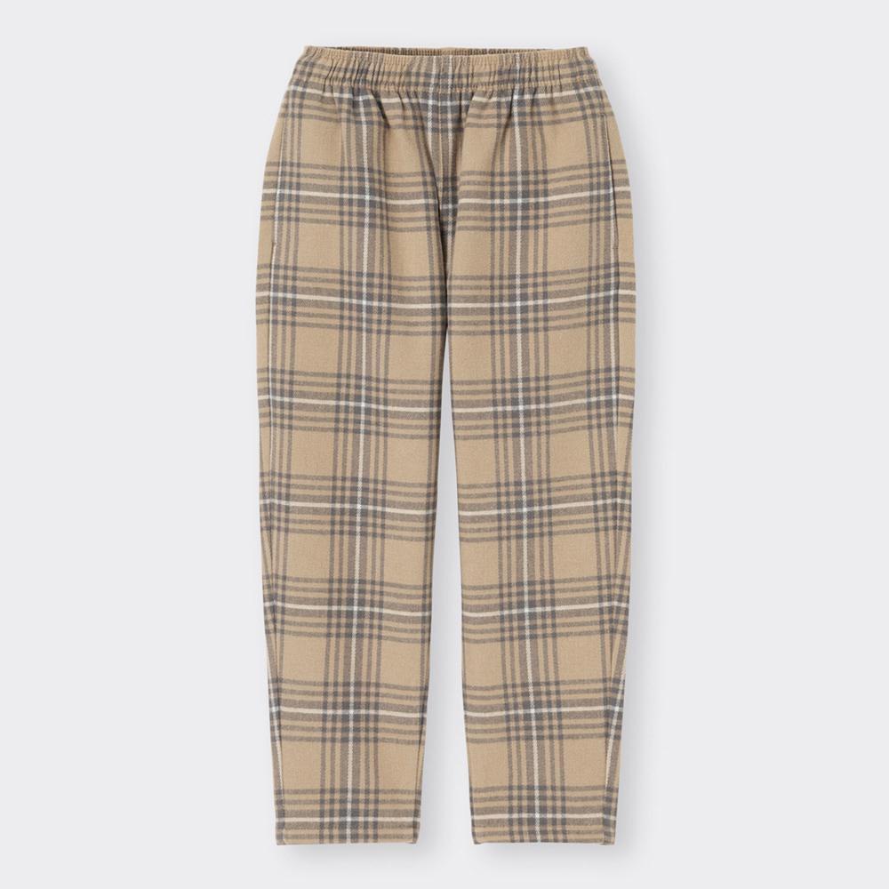(GU)KIDS(男女兼用)フランネルシェフパンツ(チェック)