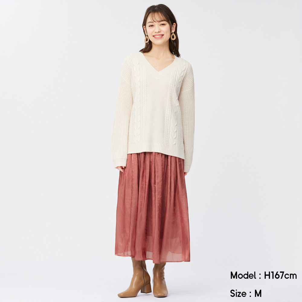 (GU)シャイニーギャザーロングスカート