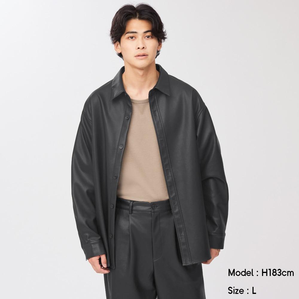 (GU)フェイクレザーオーバーサイズシャツ(長袖)NT+E(セットアップ可能)