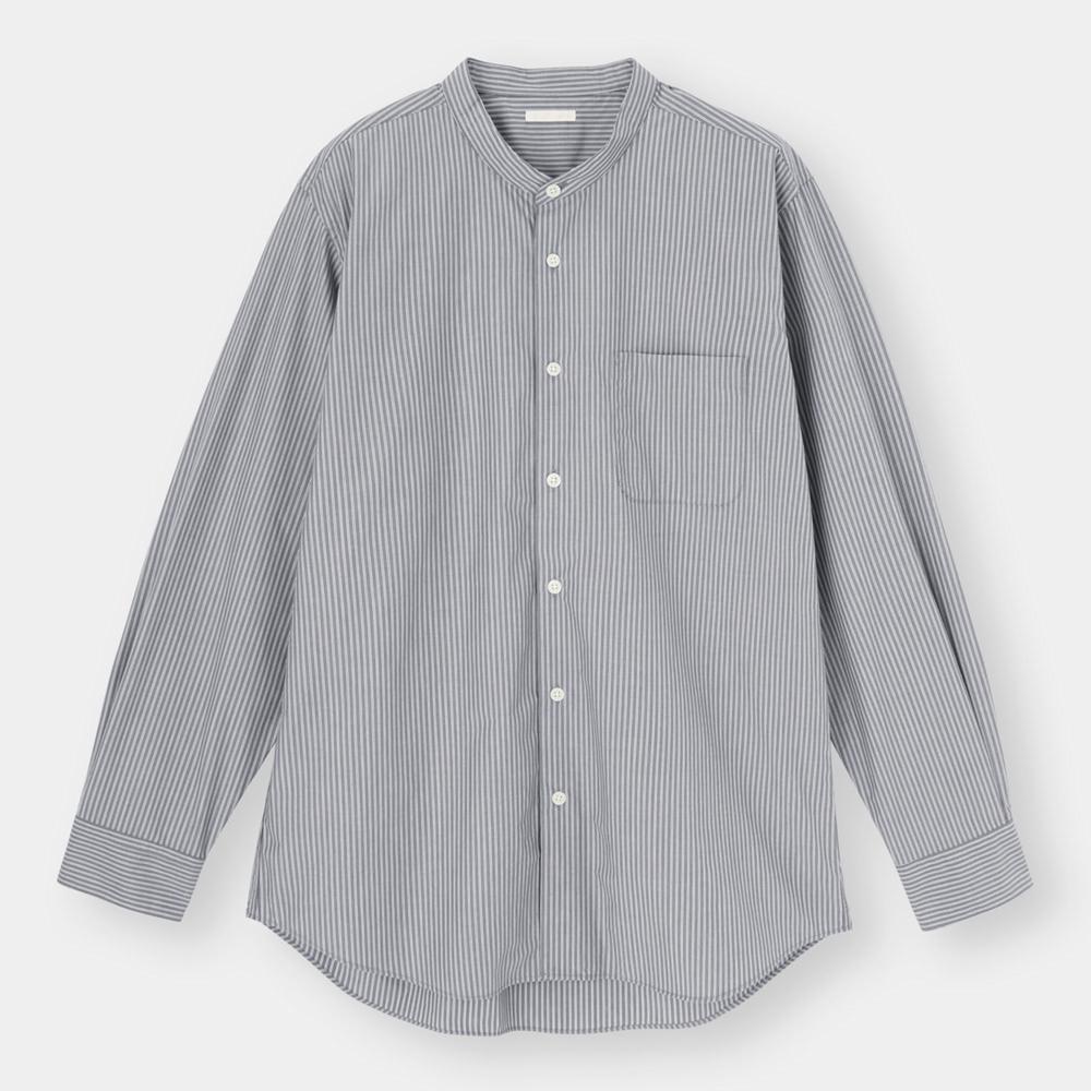 (GU)イージーケアバンドカラーシャツ(長袖)(ストライプ)SW+X