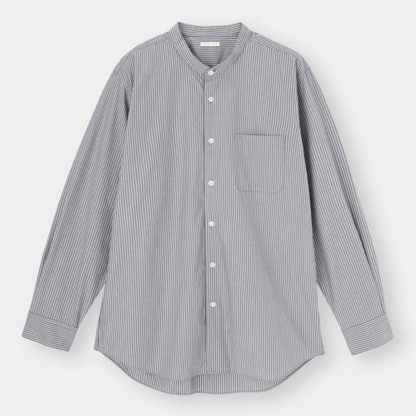 イージーケアバンドカラーシャツ(長袖)(ストライプ)SW+X-GRAY