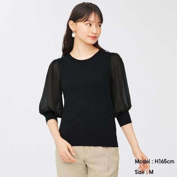 プリーツスリーブクルーネックセーター(7分袖)Z-BLACK