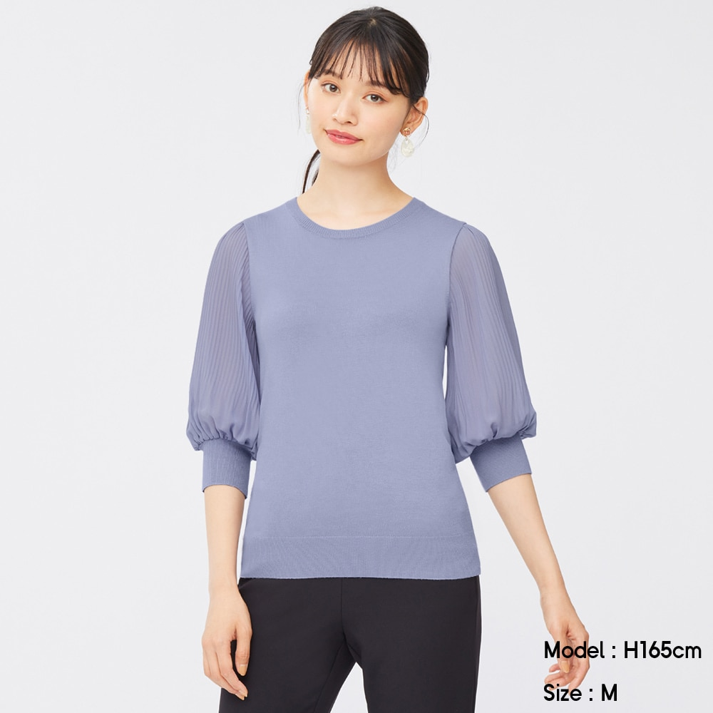 (GU)プリーツスリーブクルーネックセーター(7分袖)Z