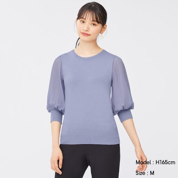 プリーツスリーブクルーネックセーター(7分袖)Z-PURPLE