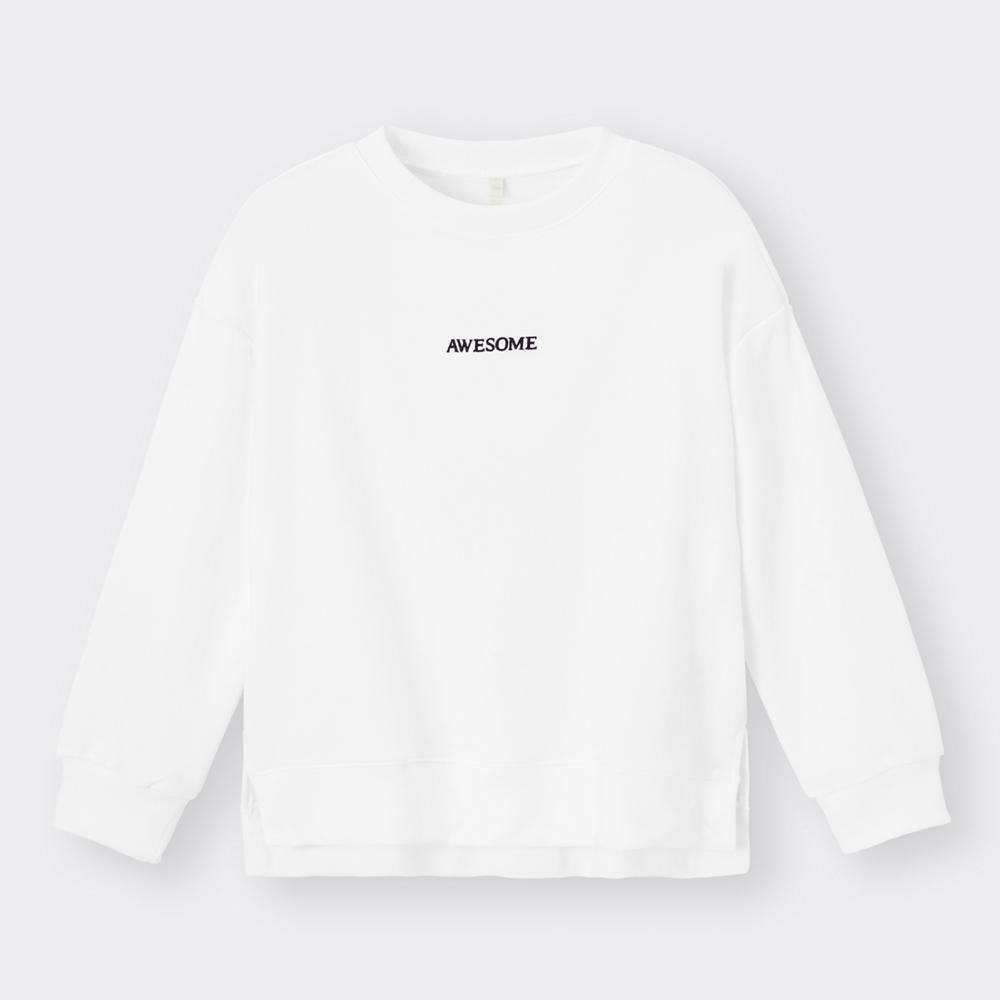 (GU)KIDS(男女兼用)ドライスウェットプルオーバー(長袖)(ロゴ)